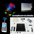 3D 8 multicolor mini luz cubeeds LEVOU KIT DIY com excelente animação/8x8x8 Kits/Júnior Aidrno com demonstração de apoio pc software