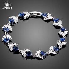 AZORA Flor Romántica Con El Corazón Azul Oscuro TS0101 Ziconia Cúbico Pulsera Del Encanto para Las Mujeres