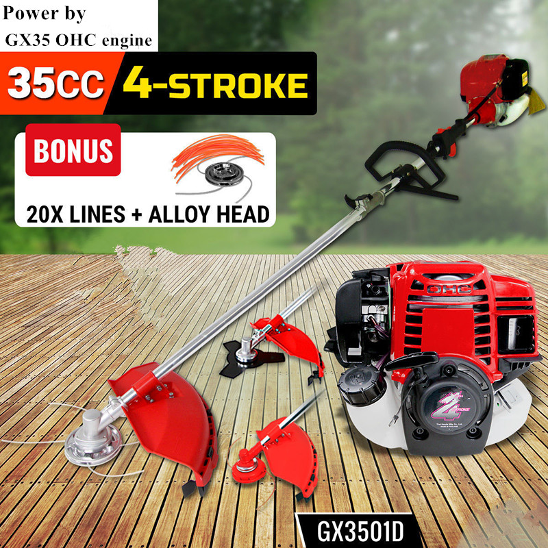 New High Quality Brush Cutter Grass Cutter 6 In1 With Gx35 4 Stroke Petrol Engine Multi Brush Strimmer Hedge Trimmer Tree Cutter In Pain Grass Trimmer Garden Tools