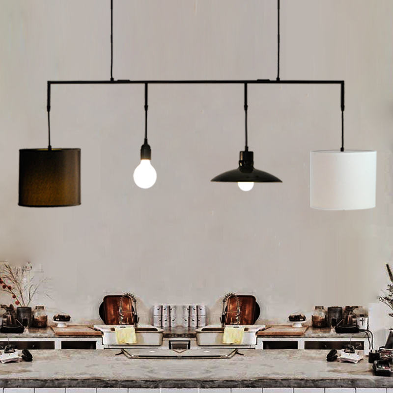 White Modern Creative Linen Lamp Shade Rustic Hemp Cover Bar Pendant Light For Dining Room Restaurant Kitchen