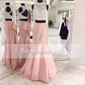 Hot Sell Long Two Piece African Prom Dresses High Neck Beading Sleeveless Pink Stretch Satin Open Back Girl Mermaid Prom Dress