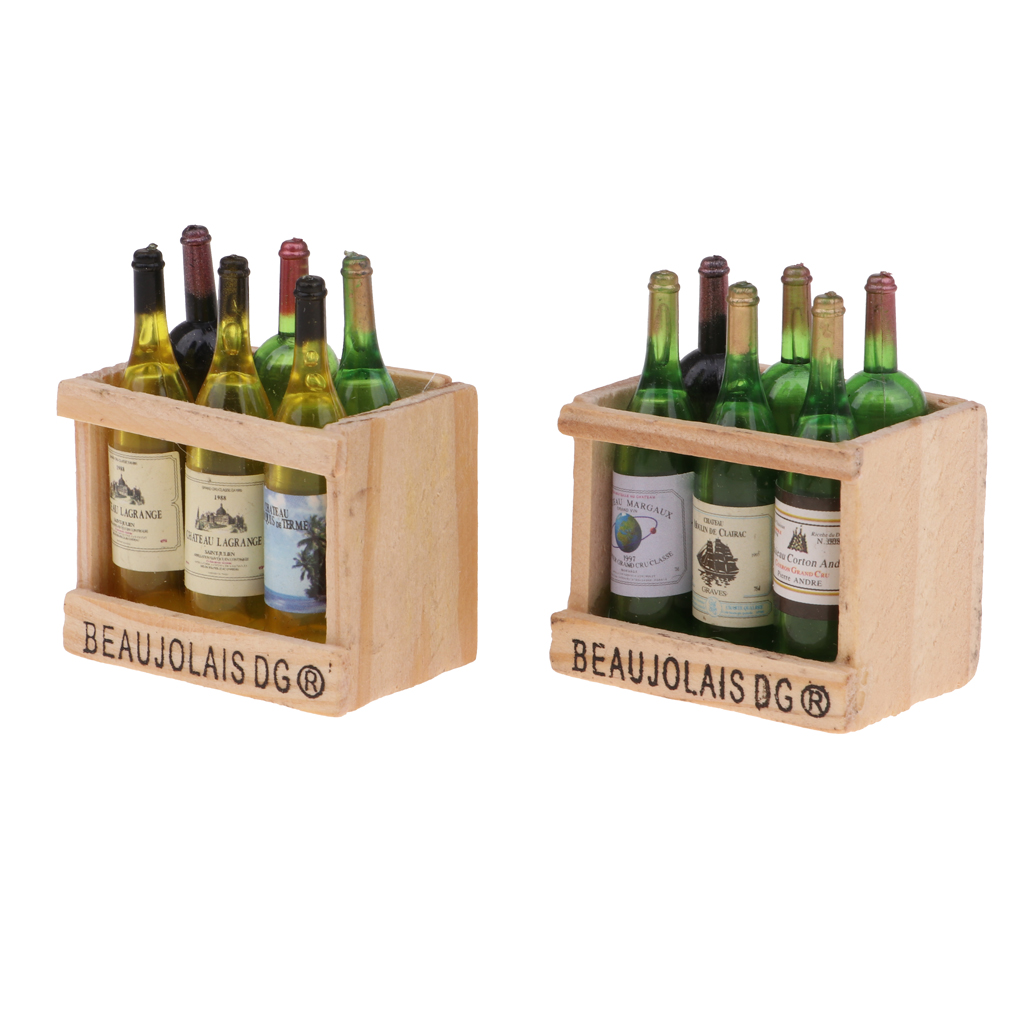 2 Sets Drink Wine Champagne Bottles With Magnet Wooden Storage Rack For 1/12 Dollhouse Miniature