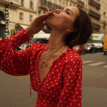 Cryptographic Casual Polka Dot Drawstring Ruched Female Shirts Fashion Lantern Long Sleeve V-Neck Woman Blouses Autumn 2019 цена