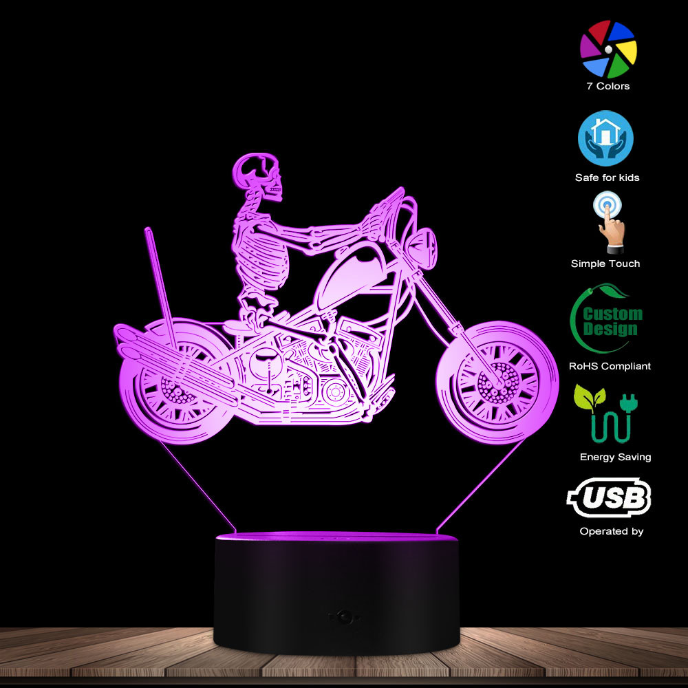 Skull Death Monster On Motorcycle LED Night Lights Skeleton Driving Motorbike 3D Optical Illusion Desk Lamp Skull Lighted Sign