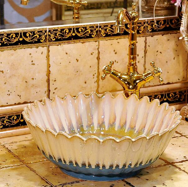 Jingdezhen Ceramic wash basin counter artistic of the Mediterranean