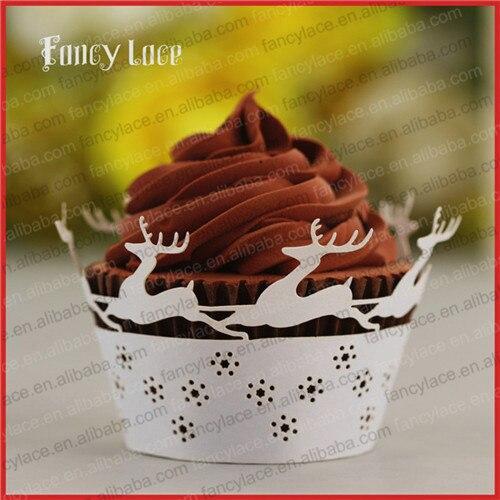 Lagere Prijs Met 60 Stks Kerstversiering Lasersnijden Papier Cupcake Wrappers, Herten Tafel Cake Decoratie Liners Papier Levert Gratis Verzending