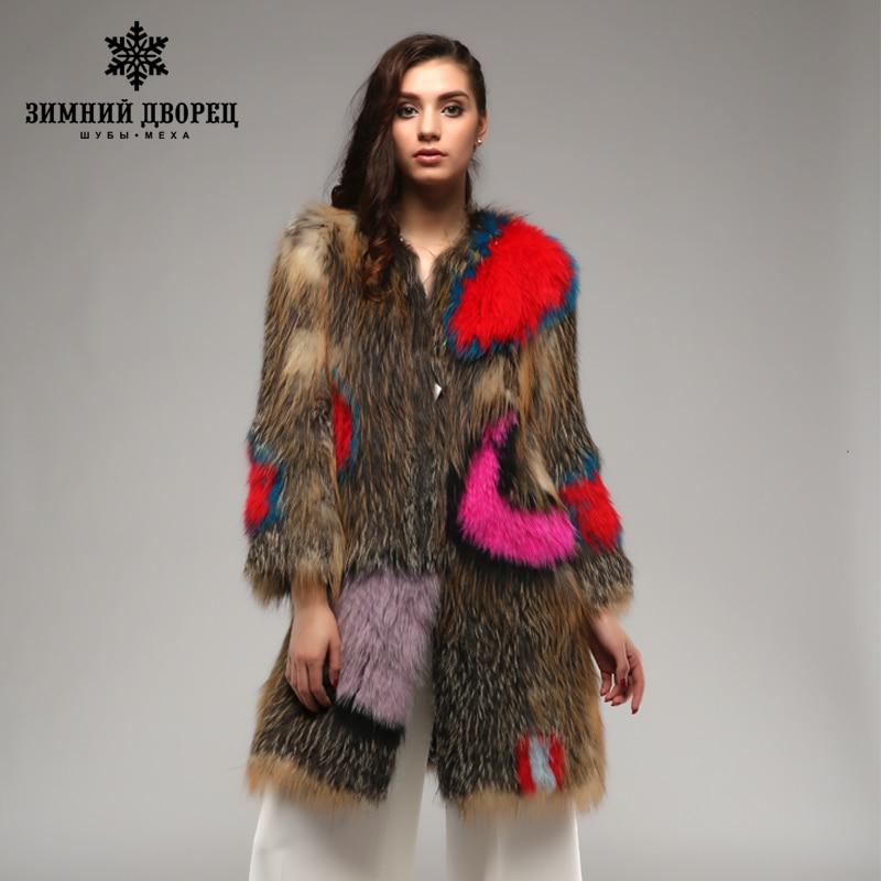 Palais d'hiver Super star fox manteau. Multicolore En Cuir Véritable Tricoté fourrure de renard manteau, Mode Mince Fourrure De renard D'hiver manteau femmes