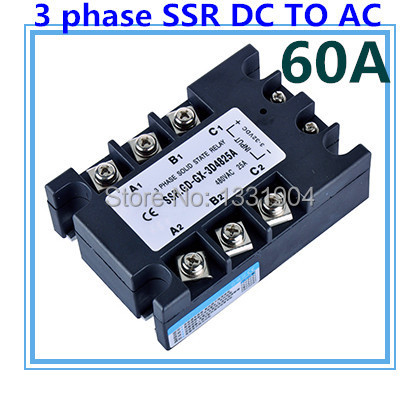 DC to AC SSR-3P-60 DA 60A SSR relay input DC 3-32V output AC480V Three phase solid state relay normally open single phase solid state relay ssr mgr 1 d48120 120a control dc ac 24 480v