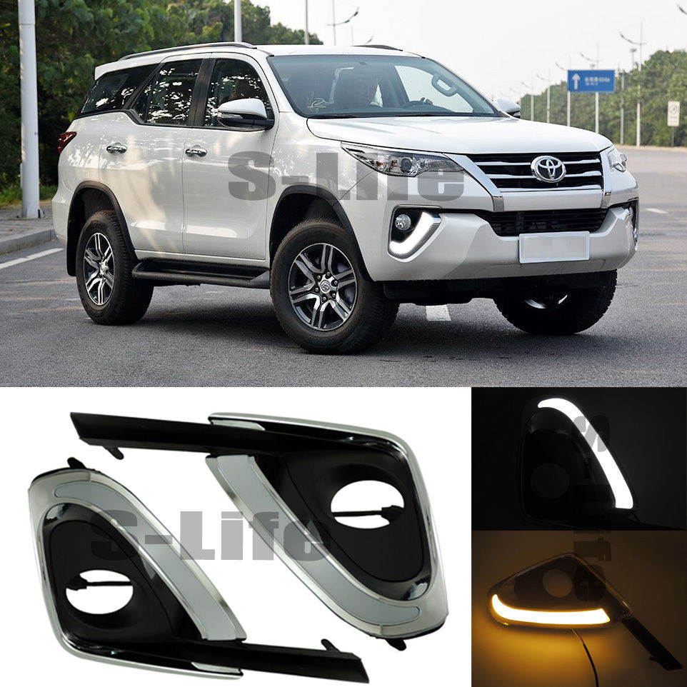 FOR 15-16 Toyota Fortuner Turn Yellow Signal Style ABS DRL Led Daytime Running Light решетка радиатора toyota 15