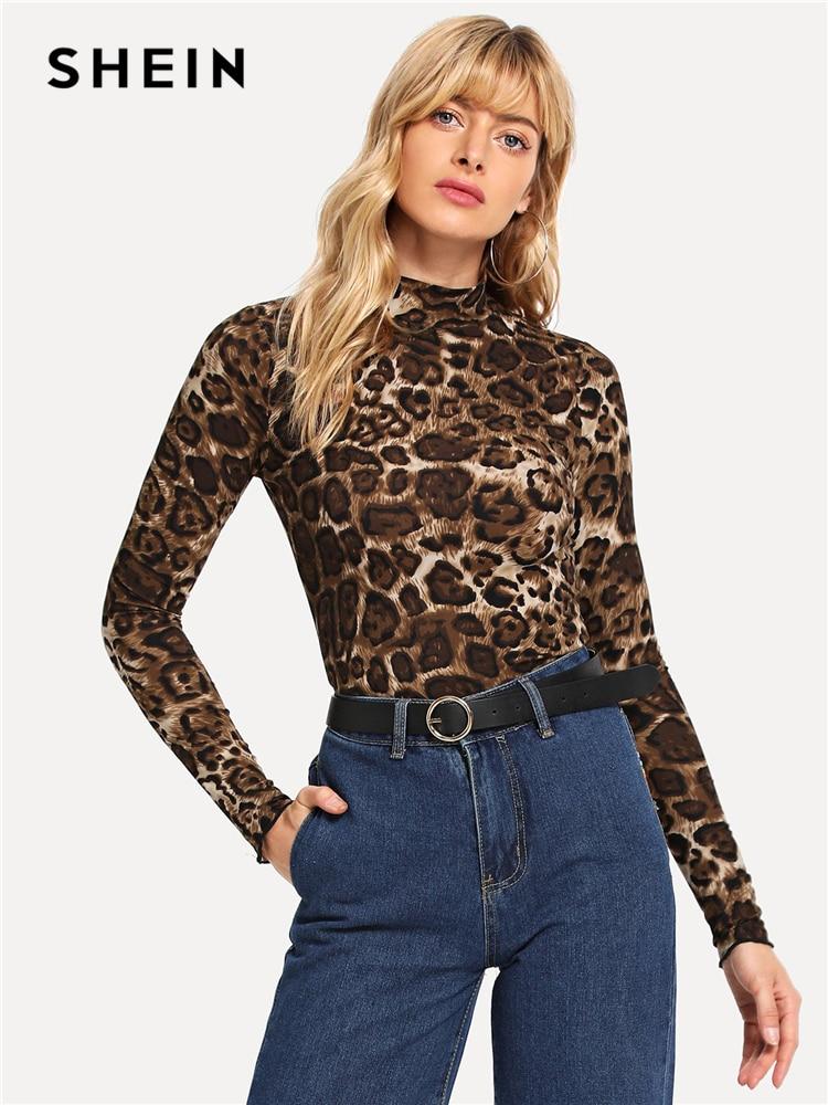 2a2f2a70808d1d SHEIN Brown Elegant Leopard Print Mock Tee Long Sleeve Stand Collar  Stretchy Tops Women Autumn Modern