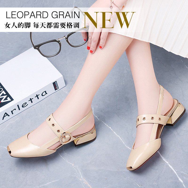 2019 new arrival Guciheaven Pointed Toe Square Heel Sandals size 34 40