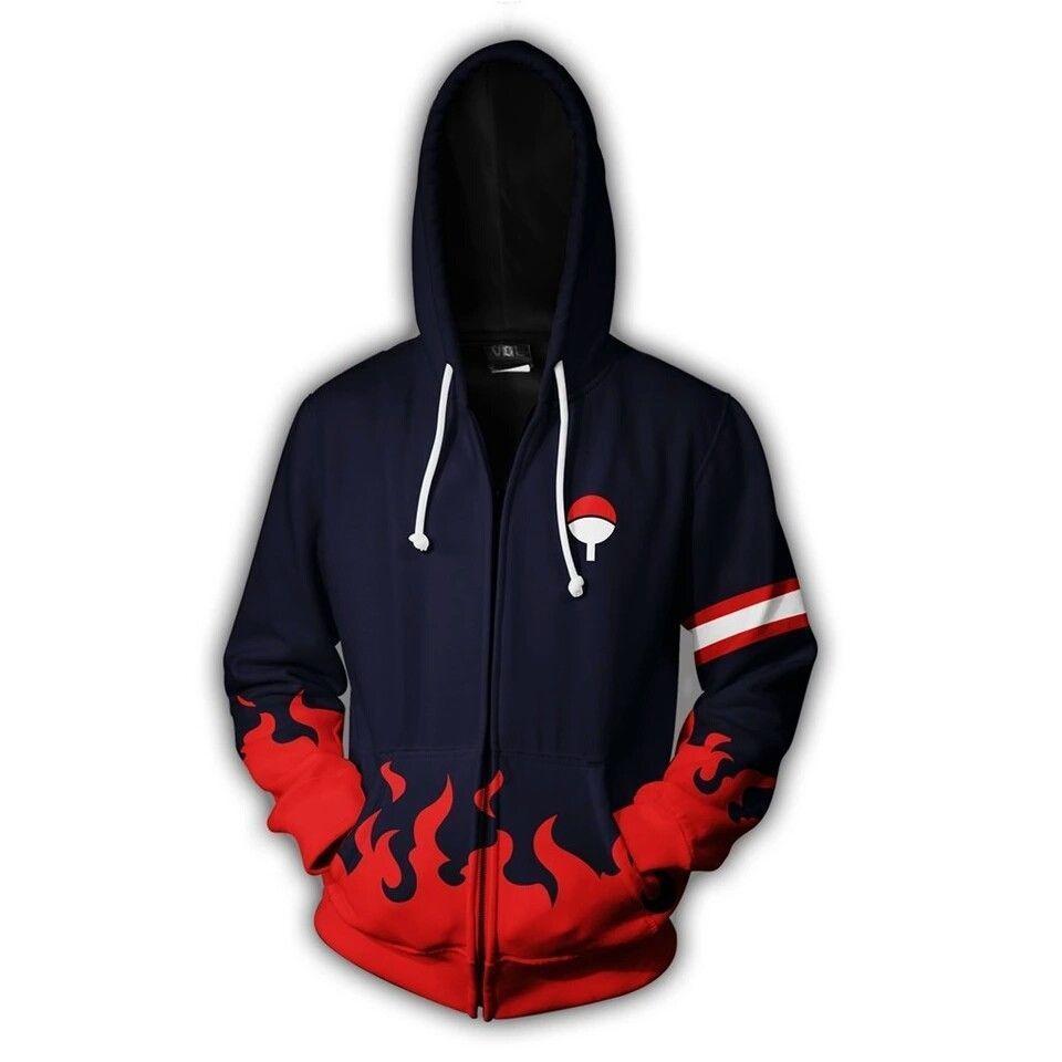 3D Print NARUTO UCHIHA CLAN Men Sweatshirts Hoodies Fashion Avengers Cosplay Casual Zipper hooded Jacket clothing