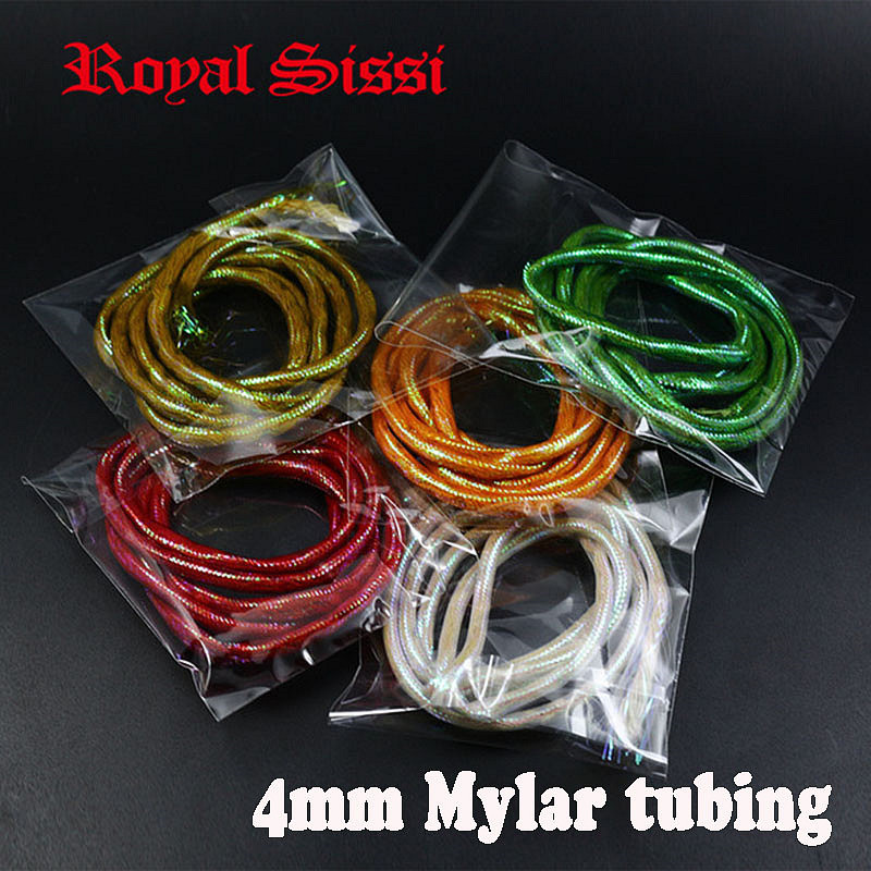 5 Packs/set 10colors UV light Mylar tubing/ 4mm braided holographic pearlescent cord with dense fibers fly tying tube materials 6 pieces set 12 colors royal sissi dura flashing tubing diameter 4mm tube minnow mylar pike saltwater fly fishing tying material