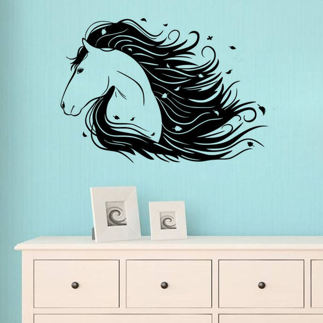 removable beautiful horses head kids room wall decal art bedroom