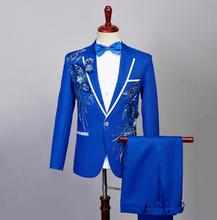 singer stage Blazer men formal dress latest coat pant designs Sequin suit terno masculino trouser wedding suits mens blue