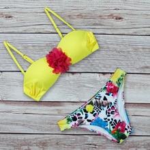 Купить с кэшбэком Sexy Bikini Push Up Swimsuit Swimwear Women Two-Piece Print 2019 New Summer Brazilian Bikini Set Swimsuit Red Flower Beach Party