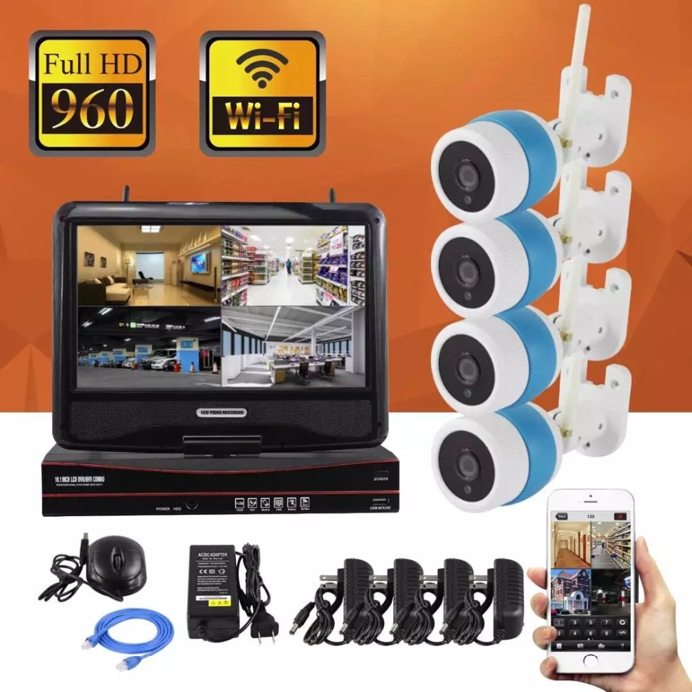 LCD Screen Monitor 10.1-inch 4CH 960P Wifi Wireless NVR Recorder Security With 4x 960P 1.3MP Waterproof outdoor Bullet Cameras