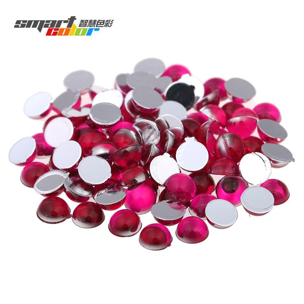 Acrylic Flat Back Many Sizes Dark Rose Color Half Round Facets Acrylic Rhinestone Glue On Acrylic Beads Decorations DIY