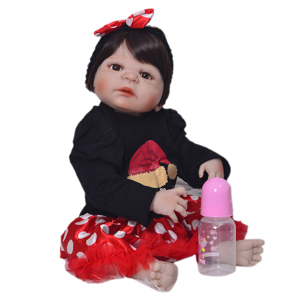 KEUMI 23 Inch Reborn Baby Girl Doll Full Silicone 57 cm Reborn Dolls For Children Christmas Gift Baby Toy Wear Santa Claus Dress [mmmaww] christmas costume clothes for 18 45cm american girl doll santa sets with hat for alexander doll baby girl gift toy