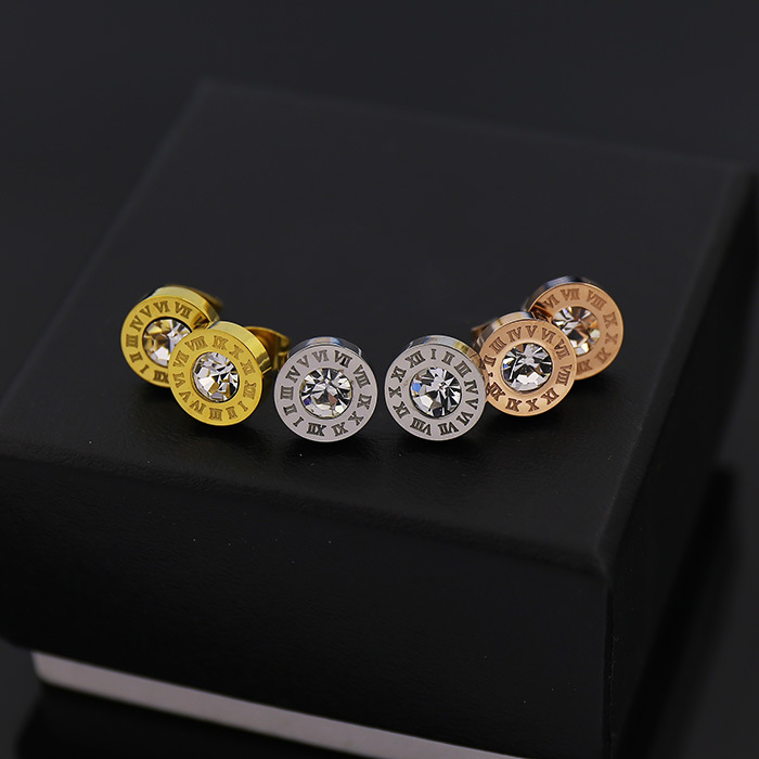 Three Colors Gold Rose Silver Stainless Steel Earring Crystal Stud Earrings Roman Number Aaa Cz 1cm Round Jewelry In From