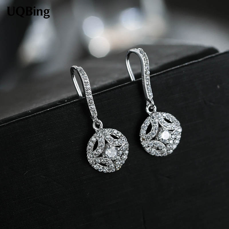 Fashion 925 Sterling Silver Round With Full Zircon Crystal Drop Earrings Tassel Earrings Jewelry Wholesale Free Shipping