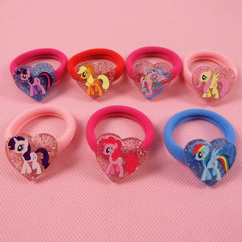7pcs/lot Cute Unicorn Girls Elastic Hair Bands with Heart Shaped Cartoon Animal Hair Scrunchy Kids Hair Accessories Hot Sales 12pc set elastic hair rubber band children hair unicorn headband kids hair accessories gril hair band set cute unicorn cartoon