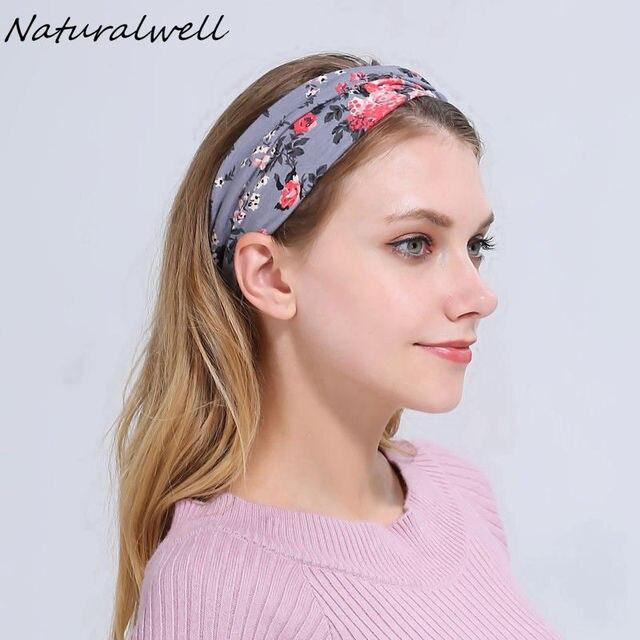 Naturalwell Twist top Knot Headband Women Running Headbands Girls Flower  Yoga Headwrap Cotton Turban Hair accessories WH511 8633e088aca