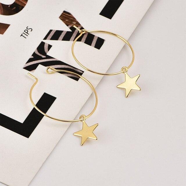 Simple Pentagram Hoop Earrings  4