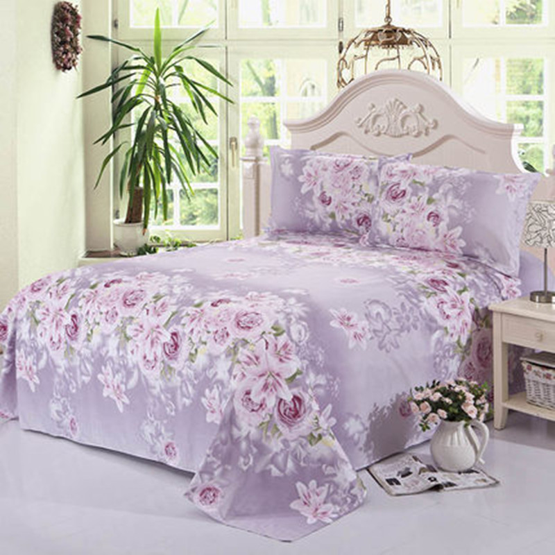 Beauty Floral Printing Flat Sheet For Single Double Bed Children Adults Bedroom Use Flat Bed Sheet (No Pillowcase) XF337-1