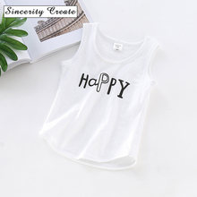 Summer cotton baby boys girls vest letter printed kids underwear solid color Children Solid Undershirt Sleeveless Vest kids top(China)