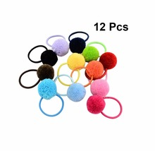 12Pcs/lot 12 Colors kids Fur Ball Elastic Hair Tie Rope with Girl gift Small Band Accessories 362