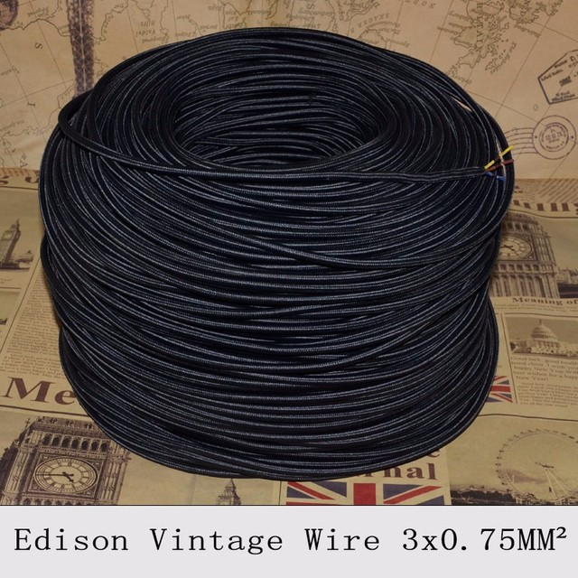 5m / 10m lot 3 cores black colors fabric wire 3*0.75mm cable retro ...