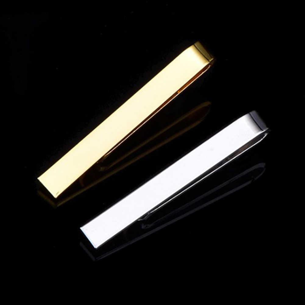 1 個カラフルなタイクリップ男性メタルスシルバーゴールドトーンシンプルなバークラスプ実用的な黒無地ネクタイクラスプ