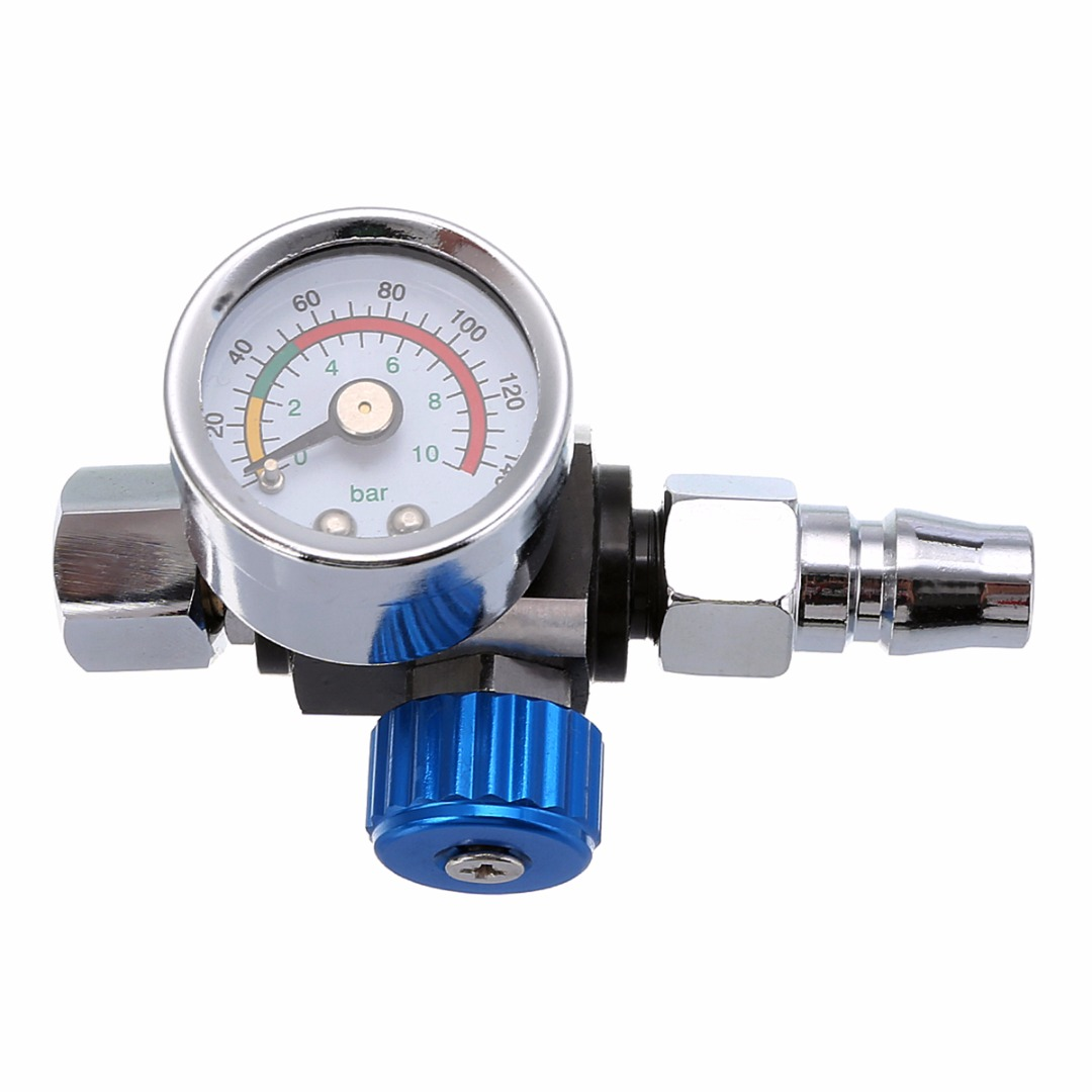 1pc 1/4 BSP Mini Air Regulator Valve Tool Durable Small Tail Pressure Gauge 48 * 60mm with Nozzle For Spray Gun Mayitr 1 4inch adjustable mini air pressure regulator dial gauge hvlp spray gun air tools