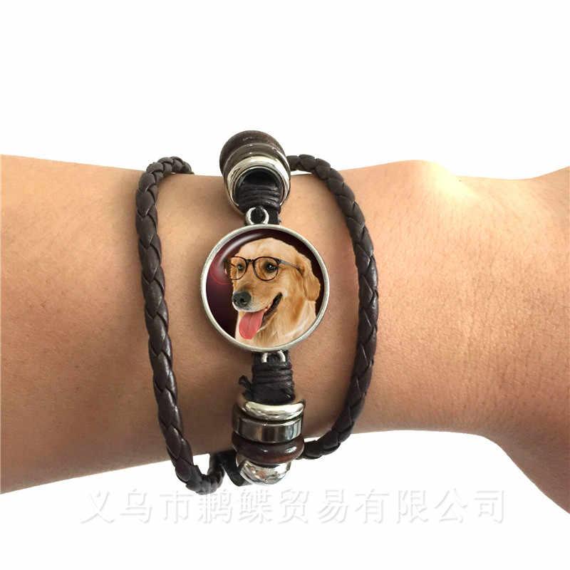 Agile สร้อยข้อมือสุนัขฝรั่งเศส Bulldog Cocker Spaniel เหมือนน่ารักน่ากอดสีดำ/สีน้ำตาลหนังกำไลข้อมือแก้วโดมผู้ชายผู้หญิงเครื่องประดับ
