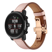 Women Fashion Colorful Soft Genuine Leather Watch Band For HUAMI Amazfit 2 22mm Butterfly Clasp Pink White Bracelet Wrist Strap