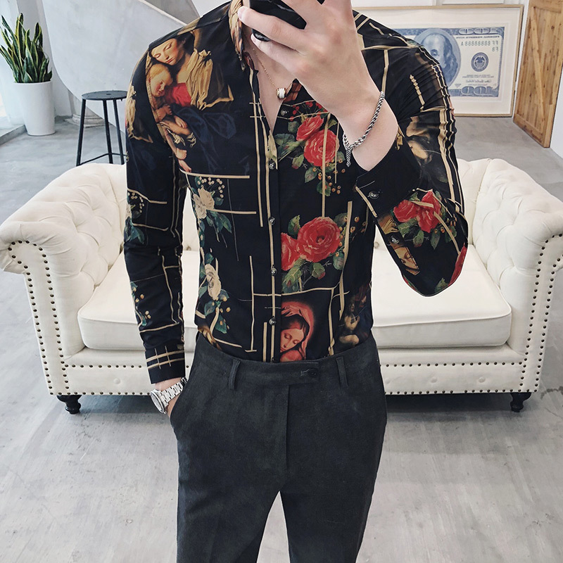 Image 2 - Luxury Printing Shirt Men Gold Black White Long Sleeve Camisa Masculina Chemise Homme Social Men Club Prom Shirt Kemeja Pria-in Casual Shirts from Men's Clothing