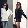 Women Ladies Loose Batwing Dolman Lace Long Sleeve Casual Top T Shirt M XXL