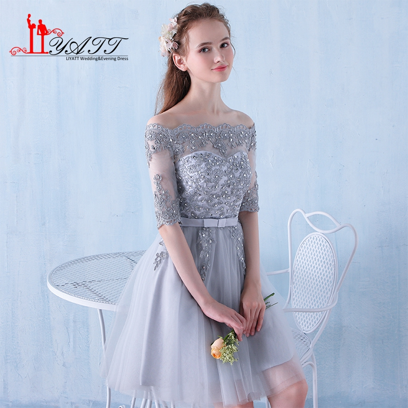 Stock Cheap Short Bridesmaid Dresses Gray Tulle Boat Neck Party