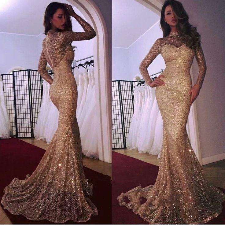 vestidos de festa Fashion New Gold Sequin   Evening     Dresses   Mermaid Long Sleeve Women Party Prom   Dress