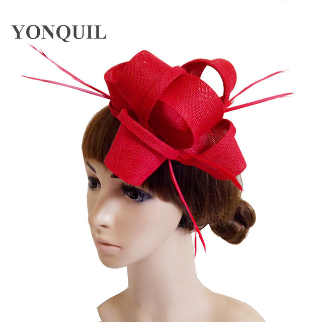 Imitation linen Red Bridal Fascinator Hair clip Wedding Headpiece Feather  Hairpin Purple Black White Beige Navy blue Royal blue 3ce2aab54c2