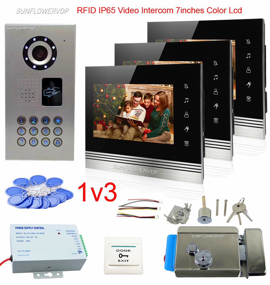 3 Apartments Home Video Door Entry Intercom Wired Rfid House Intercom IP65 Waterproof Doorbell Kit 7 Touch Buttons Monitor+Lock