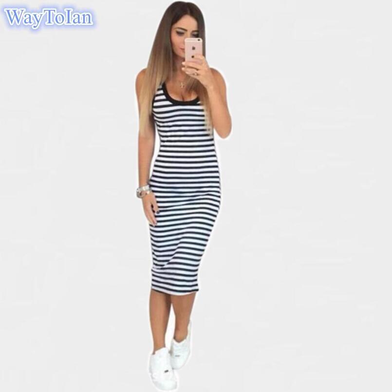 11cef15ebf45 Summer Casual Women Striped Dress Sleeveless Round Neck Slim Fit Bodycon  Dress T Shirt Dresses