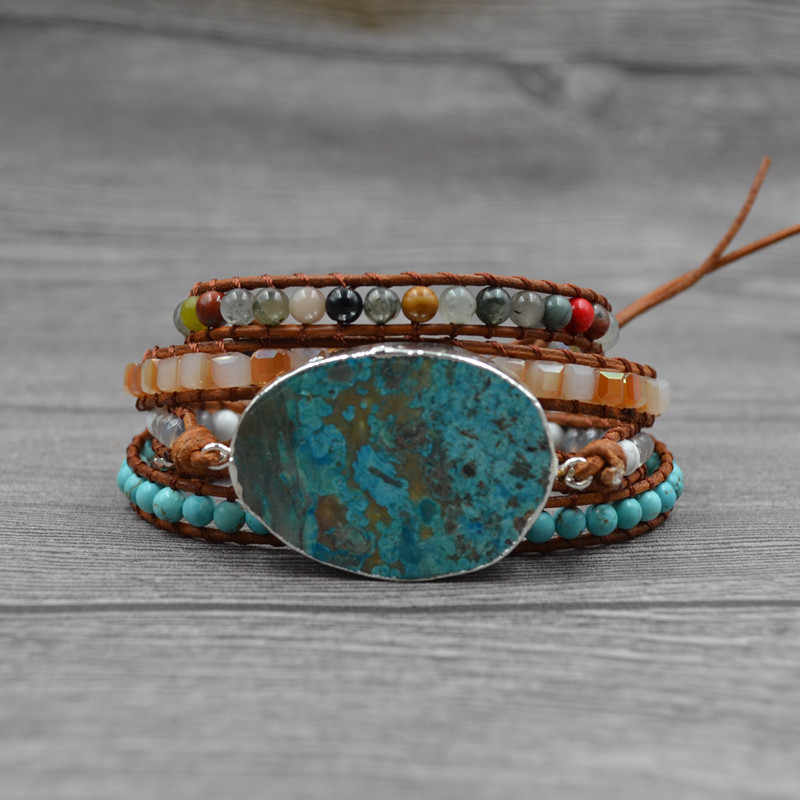 נשים עור צמיד ייחודי מעורב טבעי אבנים מוזהב אבן קסם 5 גידים גלישת צמידי בעבודת יד Boho צמיד