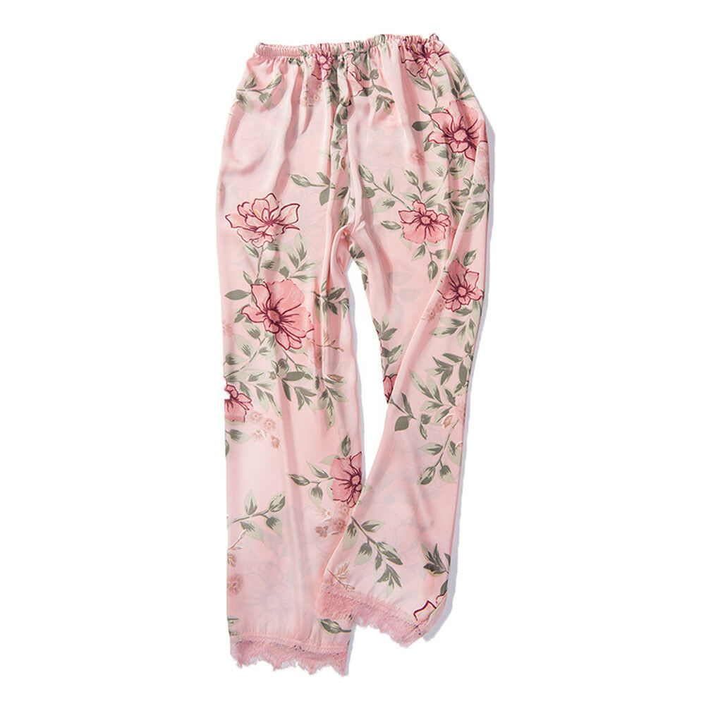 2019 Women Lady Silk Satin Pajamas Pants Pyjama Sleepwear Loungewear Homewear Sleep Bottoms