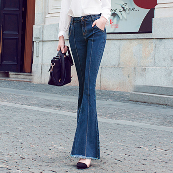 Free Shipping 2019 New Fashion Long Jeans Pants For Women Flare Trousers 24-32 Size Denim Female Summer Long Stretch Jeans цена 2017