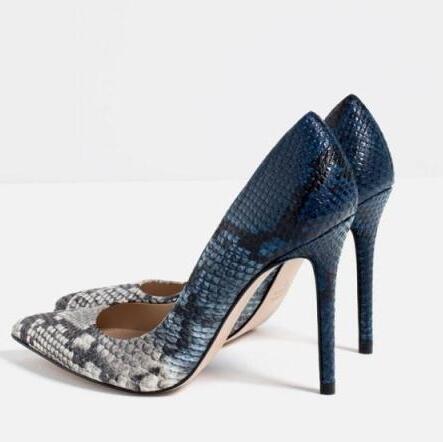 ФОТО New snakeskin Microfiber Leather 10CM Women HIgh Heels Pointed Toe Women Pumps Sandals Size 35-39 Shoes Women