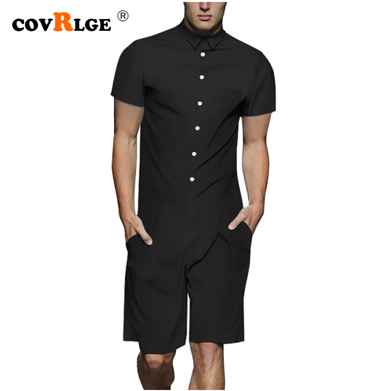 Covrlge Men's Rompers 2019 New Men Onesies Fashion Men's Sets Summer Overall Men Clothes Tshirt High Quality Men Suit MSX001