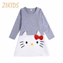 Girl Dress Autumn 2017 Casual Pure Cotton Kitty Cat Gray Dresses Kids Children Clothing for Birthday Party Costume Hot Sales