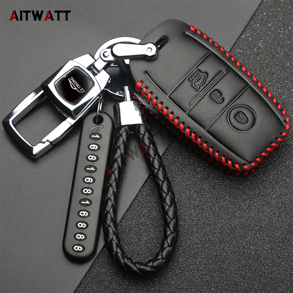 AITWATT Zinc alloy+Leather Car Key Fob Cover Case For Kia K2 K3 K4 K5 KX3 KX5 Sportage Forte 2015 2016 2017 Car Accessories maizhi 3 button flip folding car key shell for hyundai avante i30 ix35 kia k2 k5 sorento sportage key cover case styling